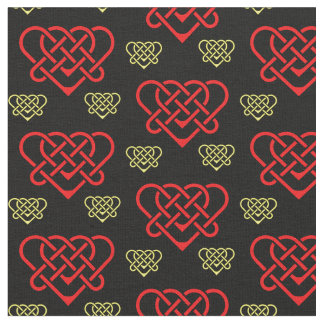 Celtic/Gadhlig braided design heart gold/red Fabric
