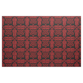 Celtic/Gadhlig braided design heart red Fabric