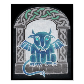 Celtic Gargoyle negative print