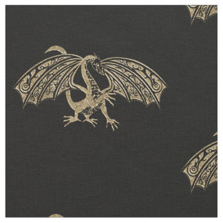 Celtic Golden Dragon Goth fabric