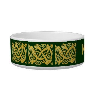 Celtic Golden Snake on Dark Green Cat Bowl