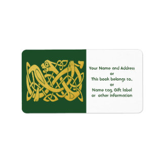 Celtic Golden Snake on Dark Green labels