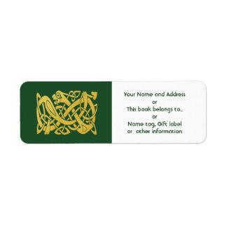 Celtic Golden Snake on Green Return Address Return Address Label