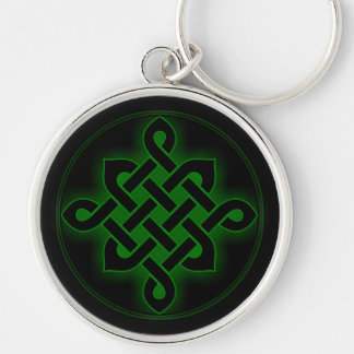 celtic green knot mystic viking symbol spiritual p Silver-Colored round keychain