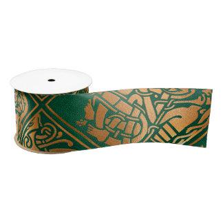 Celtic Green Tribal Art Satin Ribbon