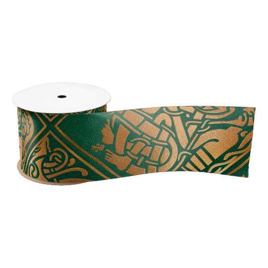 Celtic Green Tribal Art Satin Ribbon
