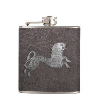 Celtic Griffin on dark leather Hip Flask