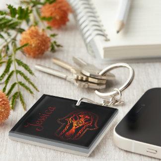 Celtic Hamsa Hand (Orange/Red) Double-Sided Square Acrylic Keychain
