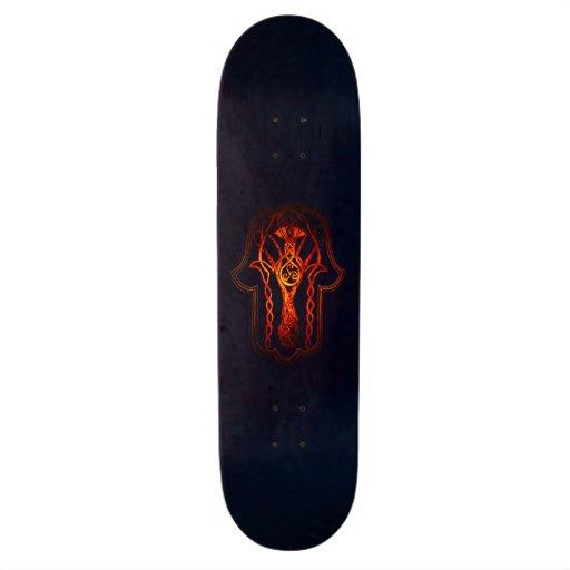 Celtic Hamsa Hand (Orange/Red) Skate Decks