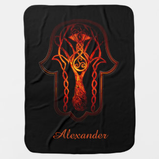Celtic Hamsa Hand (Orange/Red) Swaddle Blankets