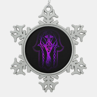 Celtic Hamsa Hand (Purple) Snowflake Pewter Christmas Ornament