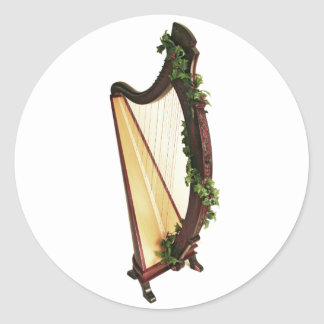 Celtic Harp Christmas Round Sticker