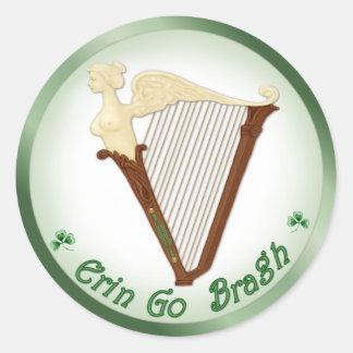 Celtic Harp Classic Round Sticker