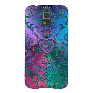 Celtic Heart Knot on Colorful Metallic Damask Galaxy S5 Case