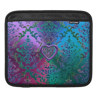 Celtic Heart Knot on Colorful Metallic Damask iPad Sleeve