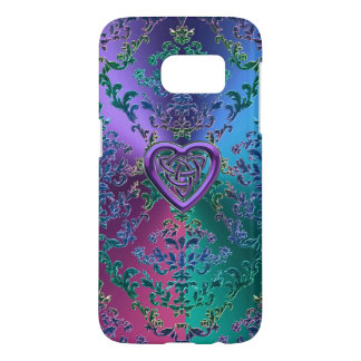 Celtic Heart Knot on Colorful Metallic Damask Samsung Galaxy S7 Case