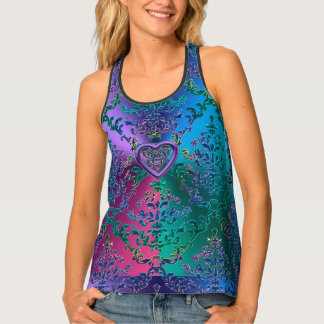 Celtic Heart Knot on Colorful Metallic Damask Tank Top