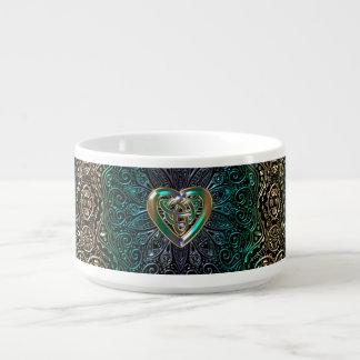 Celtic Heart Mandala In Green and Gold Original Bowl