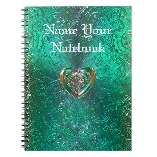 Celtic Heart Mandala In Green and Gold Original Notebooks