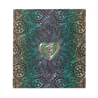 Celtic Heart Mandala In Green and Gold Original Notepad