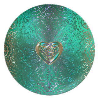 Celtic Heart Mandala In Green and Gold Original Plate