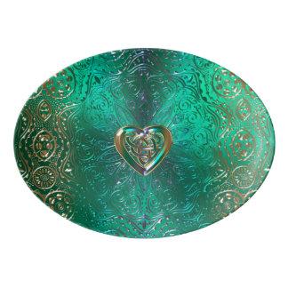 Celtic Heart Mandala In Green and Gold Original Porcelain Serving Platter