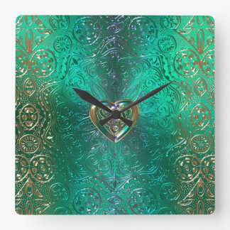 Celtic Heart Mandala In Green and Gold Original Square Wall Clock