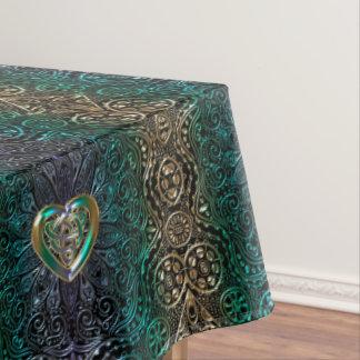 Celtic Heart Mandala In Green and Gold Original Tablecloth