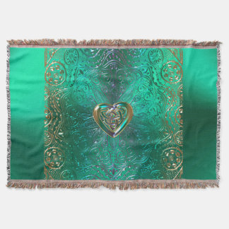 Celtic Heart Mandala In Green and Gold Original Throw Blanket