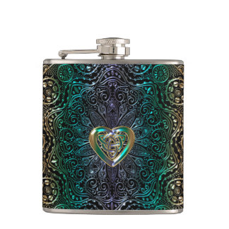 Celtic Heart Mandala In Green Gold Hip Flask