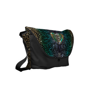 Celtic Heart Mandala In Green Gold Messenger Bag