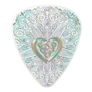 Celtic Heart Mandala In Green Gold Polycarbonate Guitar Pick