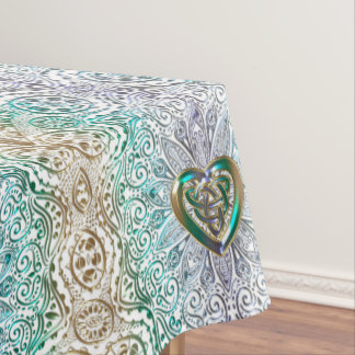 Celtic Heart Mandala In Green Gold Tablecloth