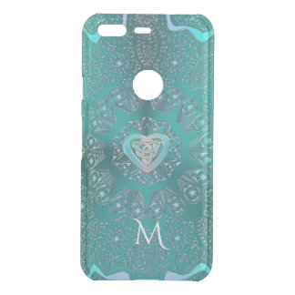 Celtic Heart Mandala in Turquoise Blue Green Uncommon Google Pixel Case