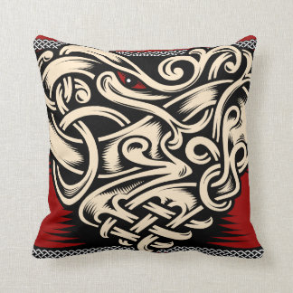 Celtic heart red black beige throw pillow