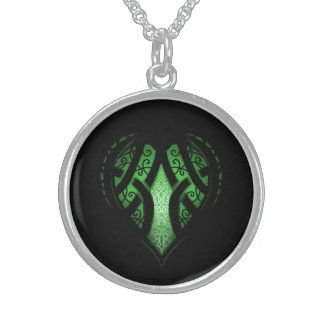 Celtic Heart Tattoo Design Sterling Silver Necklace