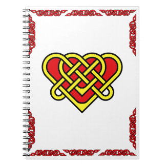 Celtic heart with celtic braided border gold notebook