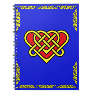 Celtic heart with celtic braided border gold notebooks