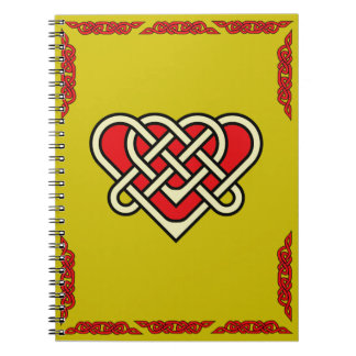 Celtic heart with celtic braided border red notebook