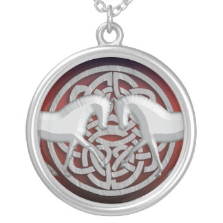 Celtic horse roman granite white red silver plated necklace