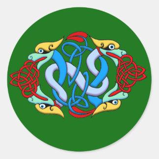 Celtic Ilumination - Dragon Knot Round Sticker