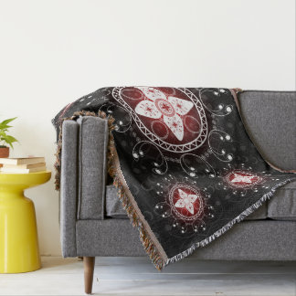 Celtic Inspired Black White Red Throw Blanket