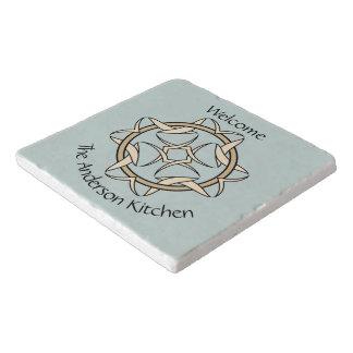Celtic Inspired Interlocking Graphic Personalized Trivet