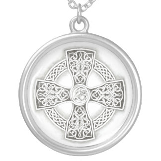 Celtic  Irish Cross Silver Chain Necklace