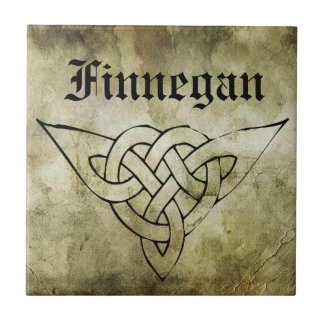 celtic irish symbolic surname linocut tile