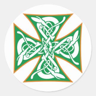 Celtic Iron Cross Orange/Green Classic Round Sticker