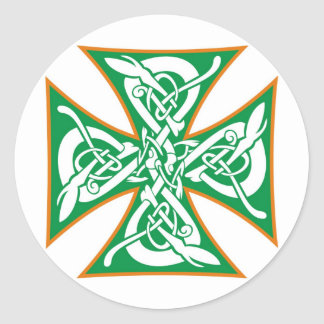 Celtic Iron Cross Orange/Green Round Sticker