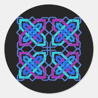 Celtic Knot 3 Black Round Sticker