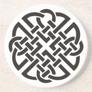 Celtic Knot Black and White Drink Coaster