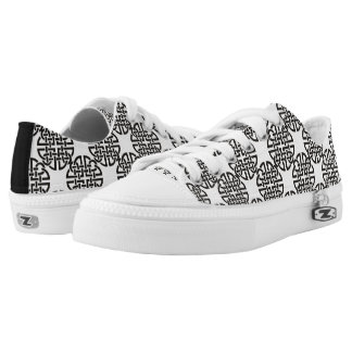 Celtic Knot Black and White Low-Top Sneakers